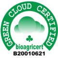 Logo green cloud certified, logo costituito da un cerchio di cavallo in verde su scritta bianca, al centro bolli verdi e