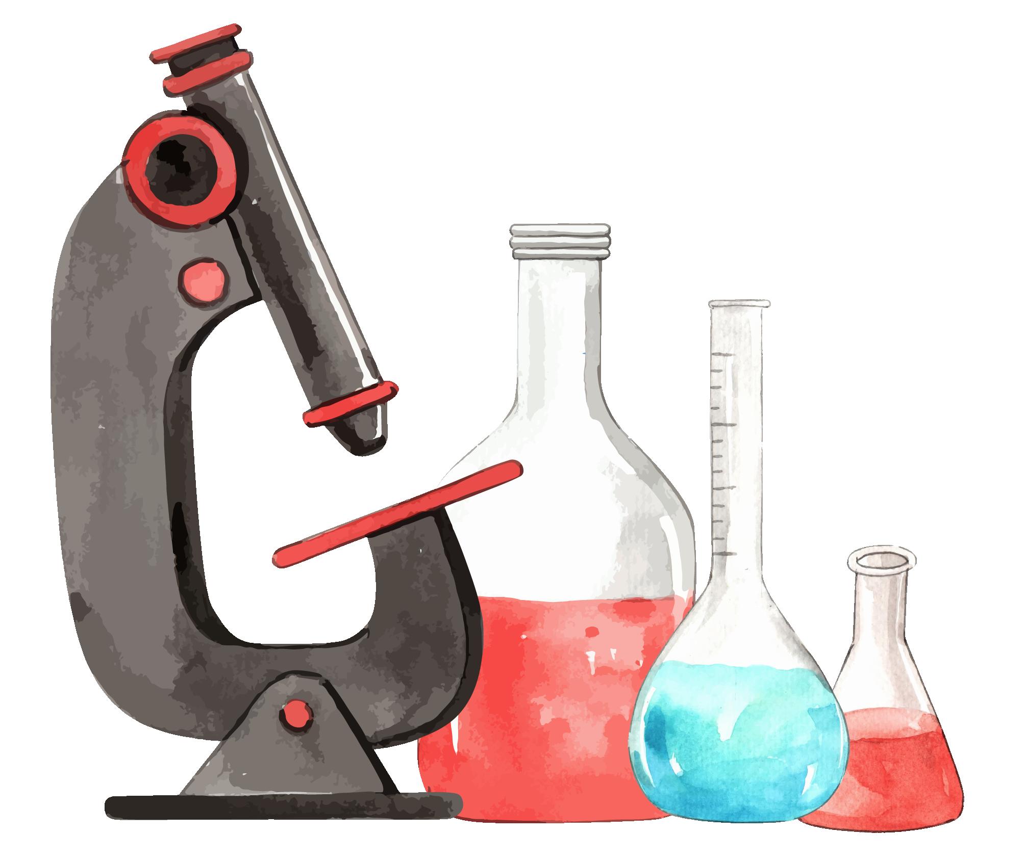 Disegno ad acquerello di un microscopio e di provette da laboratorio