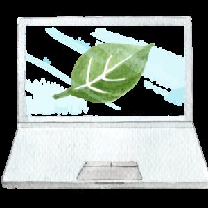 Un computer disegnato ad acquerello con al centro del monitor una foglia