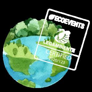 La terra rappresentata da un globo disegnato ad acquerello con sovraimpresso un marchio di certificazione di legambiente