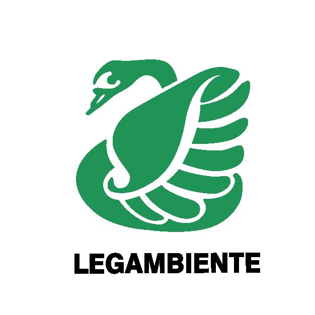 logo legambiente fatto da un cigno verde stilizzato e scritta legambiente in nero tutto maiuscolo